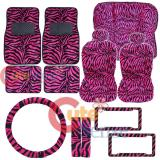 Hot Pink Zebra Animal Car Seat Covers Accessories Complete Set -Full 15pc