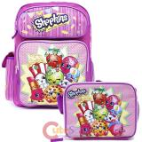 "Shopkins 16"" Large School  Backpack Lunch Bag 2pc Book Bag Set"