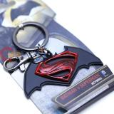 DC Comics Batman v Superman Key Chain Pewter 3D Logo Metal - Black