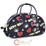 Betty Boop Cartoon Prints Duffle Bag Travel  Diaper Gym Bag -Black Hearts