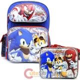 "Sonic The Hedgehog 16"" Large School Backpack Lunch Bag Set -Sonic Boom"