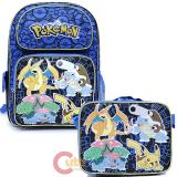 "Pokemon 16"" Large School  Backpack Lunch Bag 2pc Book Bag Set - Charizard Group"