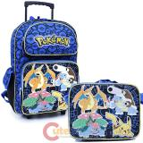 "Pokemon 16"" Large School  Roller Backpack Lunch Bag 2pc Book Bag Set - Charizard Group"