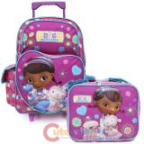 "Doc Mcstuffins 16"" Large School Roller Backpack with Lunch Bag Set Healing Hands"