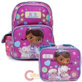 """Doc Mcstuffins 16""""  Large School Backpack Lunch Bag Set -Healing Hands"""