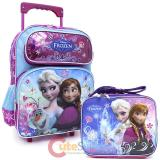 "Disney Frozen  14"" Medium School Roller Backpack with Lunch Bag Set Snow Flower"