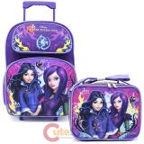 "Disney Descendants 16"" Large School Roller Backpack with Lunch Bag Set Fairy Tale"