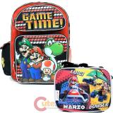 Super Mario Large School Backpack Lunch Snack Bag 2pc Set - Game Time