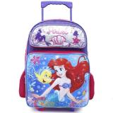 "Disney Little Mermaid Ariel Roller School Backpack 16"" Large Rolling Bag- Sea Shell"