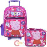 "Peppa Pig  16"" Large School  Roller Backpack Lunch Bag Set - Checker Flower"