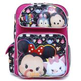 "Disney Tsum Tsum 16"" School Backpack Large Book Bag Pink Black"
