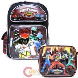 "Power Rangers Dino Charge Large 16"" School Backpack Lunch Bag 2pc Set - Dino Zords"