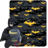 Dc Batman Fleece Throw Blanket with Plush Doll Pillow Set