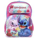 "Disney Lilo and Stitch 16"" School Backpack Large Book Bag Pink Black"
