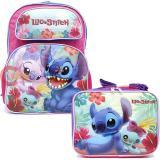 Disney Lilo and Stitch Large School Backpack Lunch Bag 2pc Set