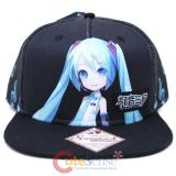 Hatsune Miku Black Snap Back Flat Bill Hat