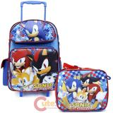 "Sonic The Hedgehog 16"" Large School Roller Backpack Lunch Bag Set - Checkers"