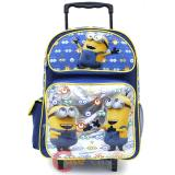 "Despicable Me Minions Large School Roller Backpack 16"" Rolling Bag -Eyes"