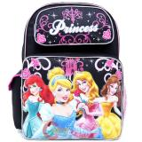 Disney Princess Large School Backpack 16in Book Bag - Black Pink
