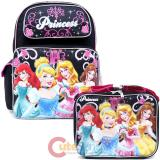 Disney Princess Large School Backpack Lunch Bag 2pc Set -Black Pink