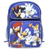 "Sega Sonic The Hedgehog School Backpack  16"" Large Bag with Silver Sonic"