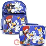 "Sonic The Hedgehog 16"" Large School Backpack Lunch Bag Set with Silver Sonic"