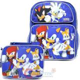 "Sonic The Hedgehog 14"" Medium School Backpack Lunch Bag Set with Silver Sonic"