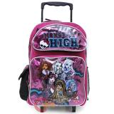 "Monster High Roller School Backpack 16"" Large Rolling Bag - Glitter"