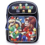"Nintendo Super Mario 14"" School Backpack Medium Size Boys Book Bag - Team Black"