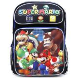 "Nintendo Super Mario Large School Backpack 16"" Book Bag - Team Black"
