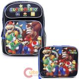 "Nintendo Super Mario Medium 14"" School Backpack Lunch Bag 2pc Set - Team Black"