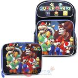 "Super Mario Large 16"" School Backpack Lunch Bag 2pc Set - Team Black"