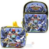 "Power Rangers Medium 14"" School Backpack Lunch Bag 2pc Set -Dino Super Charge"