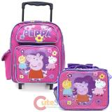 "Peppa Pig 12"" Small School Roller Backpack with Lunch Bag Set - Pink Dots"