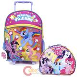 "My Little Pony 16"" Large School Roller Backpack Lunch Bag 2pc Set -Pegasus Friends"