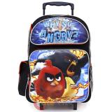 "Angry Birds Large School Roller Backpack 16"" Trolley Rolling Bag Why SO"