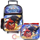 "Angry Birds 16"" Large School Roller Backpack Lunch Bag 2pc Set"
