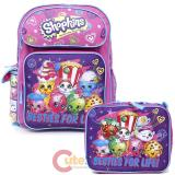 "Shopkins 16"" Large School  Backpack Lunch Bag 2pc Book Bag Set -Besties For Life"
