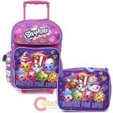 "Shopkins 16"" School Roller Backpack Lunch Bag 2pc Set -Besties For Life"