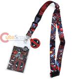 Marvel Deadpool Comic Lanyard Key Chain ID Pocket with Logo Charm