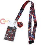 Marvel Deadpool Comic Lanyard Key Chain ID Pocket with Logo Charm
