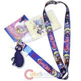 Sailormoon Main Girls Lanyard Key Chain ID Pocket with Luna Charm