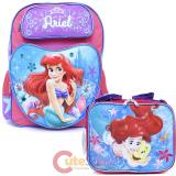 Disney Little Mermaid Ariel Large School Backpack Lunch Bag Set - Colorful Shell