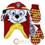 Paw Patrol Marshall 3D Knitted Beanie Hat Gloves Set