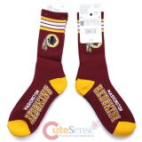Washington Redskins Socks NFL Team Logo 4 Stripe Long Mens Large