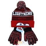 Disney Cars Mcqueen Gloves Beanie Set with Furry Ball