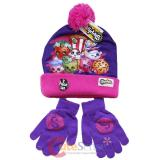 Shopkins  Knitted Beanie Hat Gloves Set - Puprle Pink
