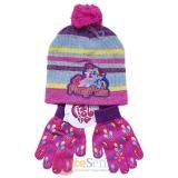My Little Pony Knitted Beanie Hat Gloves Set - Rainbow Stripe