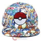 Pokemon Characters All Over Sublimated Print Hat with Pokeball Snap Back Cap