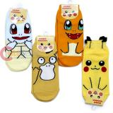 Pokemon Ankle Socks Set 4 Pair - Pikachu Squirtle Charmander Psyduck